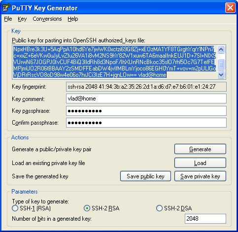 puttygen-save-private-key