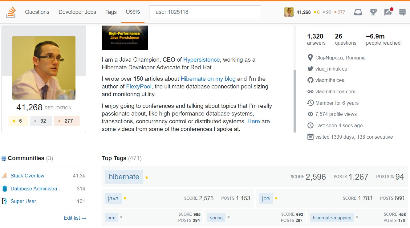 StackOverflow status Java Champion