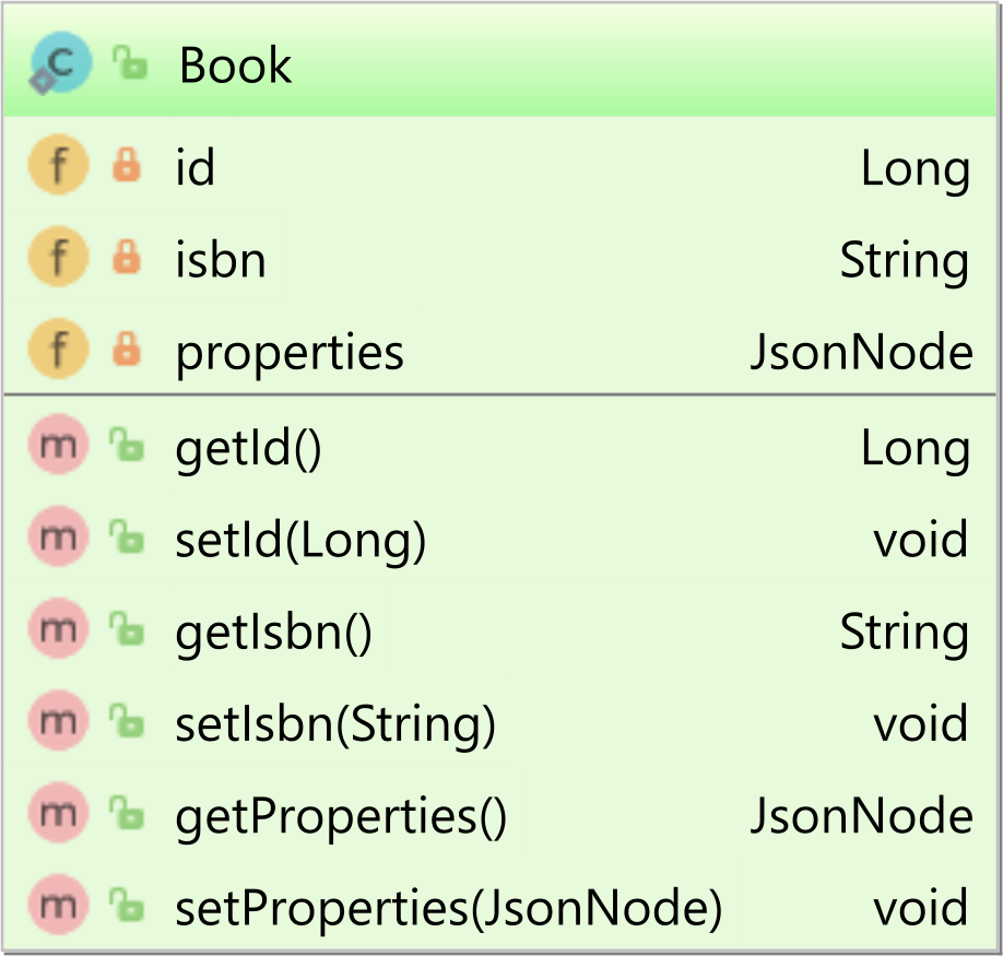 Book table with JSON column