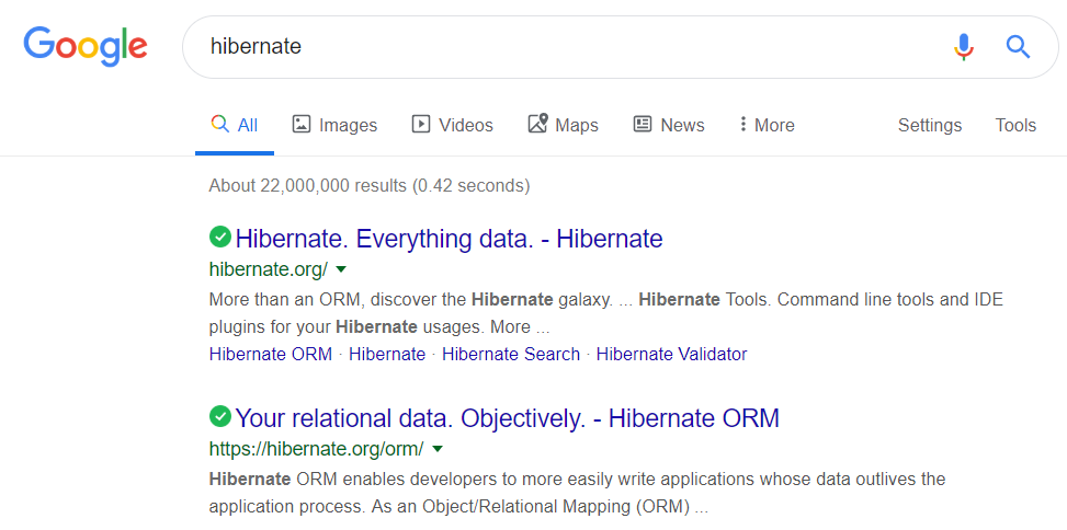 Searching Hibernate on Google - first page