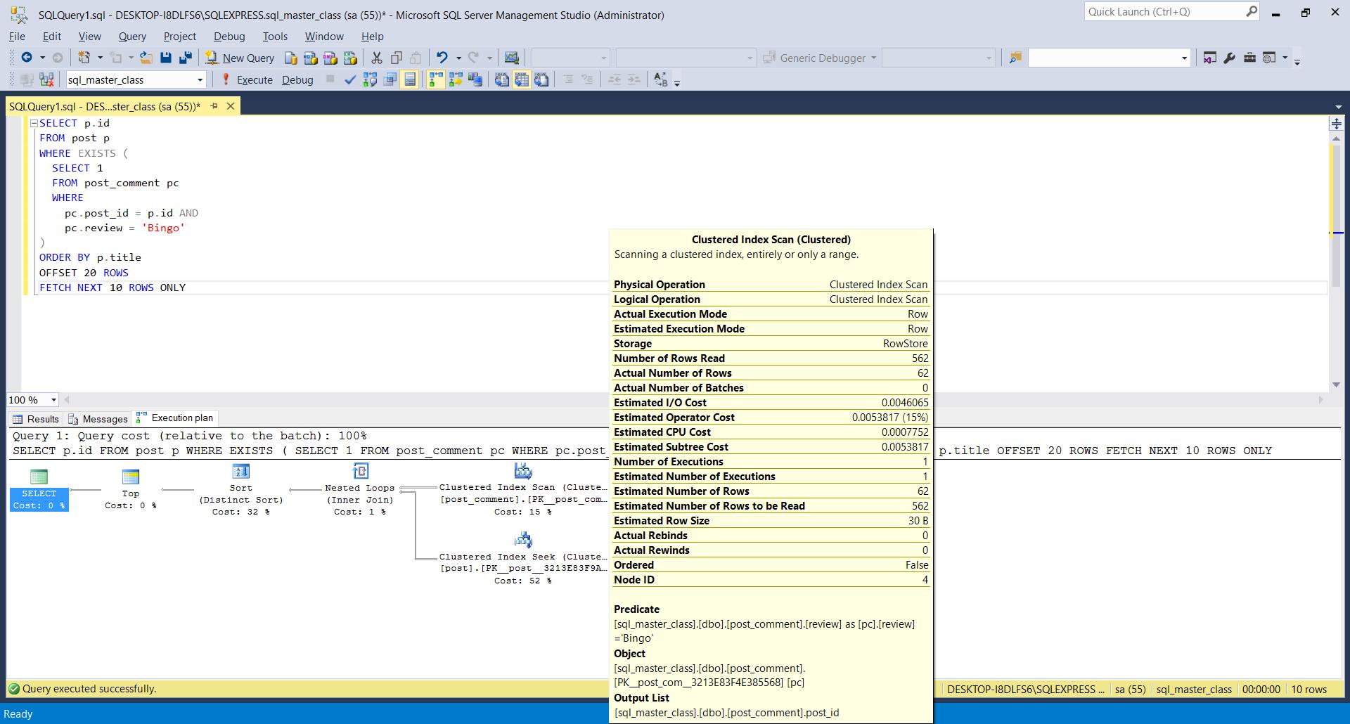 SQL Server Actual Execution Plan