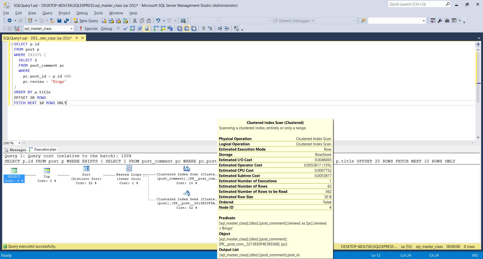 SQL Server Estimated Execution Plan