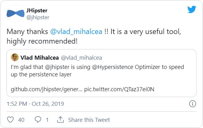 Hypersistence Optimizer Twitter JHipster