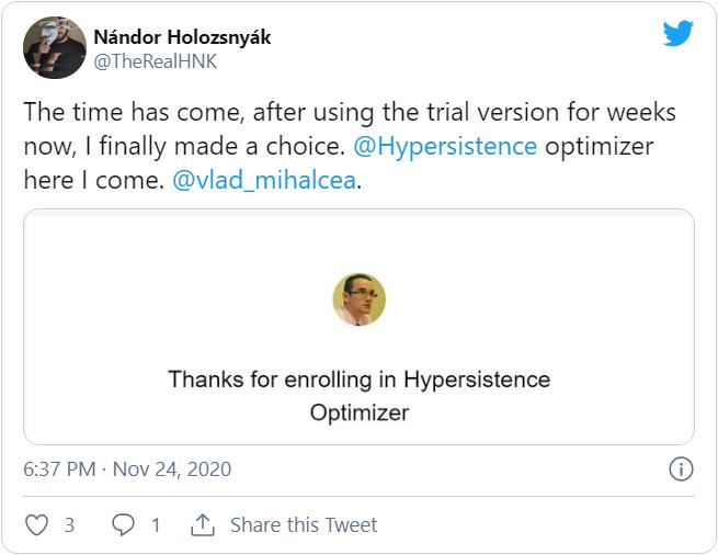 Hypersistence Optimizer Twitter Nandor