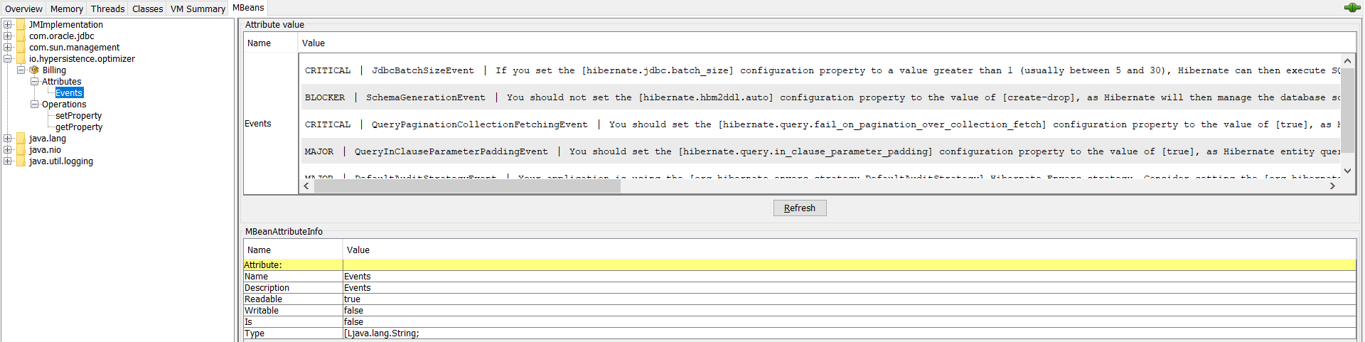 Hypersistence Optimizer - Getting the list of Events using the JMX bean